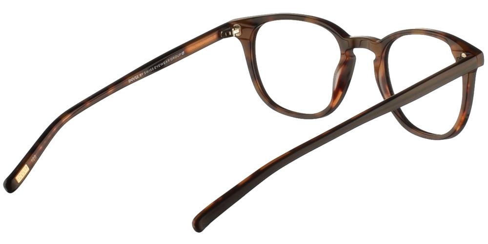 Τετράγωνα κοκάλινα ανδρικά και γυναικεία γυαλιά οράσεως Invu B4908 C σε σκούρο καφέ ματ σκελετόγια μικρά και μεσαία πρόσωπα.
