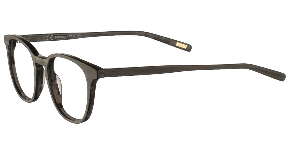Τετράγωνα κοκάλινα ανδρικά και γυναικεία γυαλιά οράσεως Invu B4908 A σε σκούρο γκρι ματ σκελετό για μικρά και μεσαία πρόσωπα.