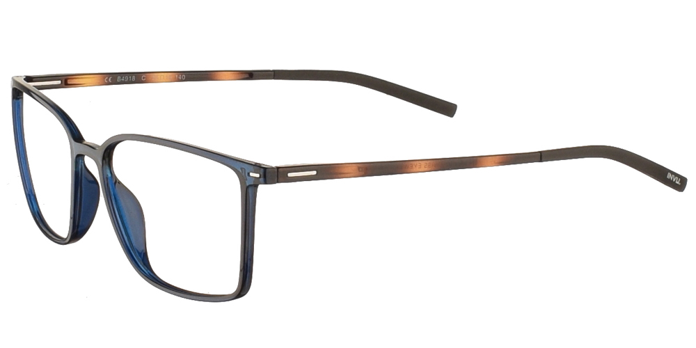 Τετράγωνα κοκάλινα ανδρικά και γυναικεία γυαλιά οράσεως Invu B4918 C σε σκούρο μπλε σκελετό για μεσαία και μεγάλα πρόσωπα.