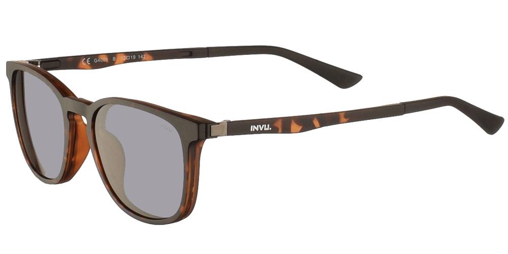 Τετράγωνα κοκάλινα γυαλιά οράσεως Invu G4001 B Clip On σε καφέ ματ ταρταρούγα με αποσπώμενο clip on με φακό γκρι polarized για όλα τα πρόσωπα.