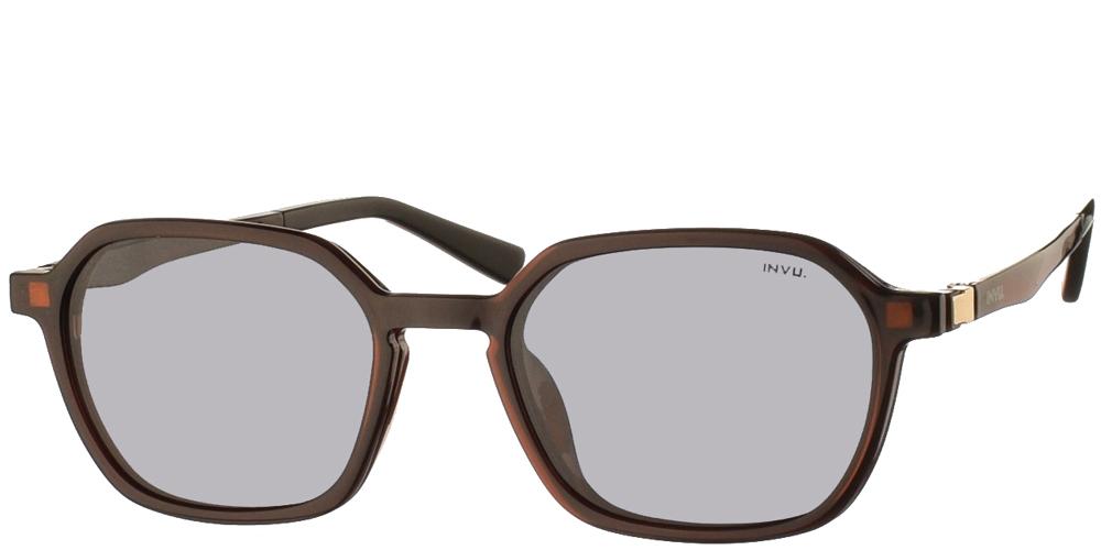 Πολυγωνικά κοκάλινα ανδρικά και γυναικεία γυαλιά οράσεως Invu G4004 B Clip On σε καφέ σκελετό με αποσπώμενο clip on με φακό γκρι polarized για όλα τα πρόσωπα.