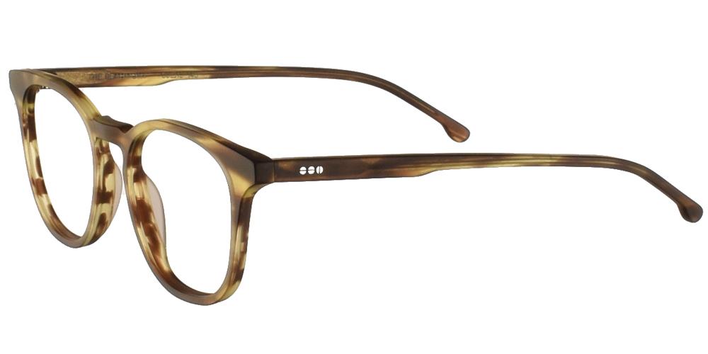 Τετράγωνα κοκάλινα ανδρικά και γυναικεία γυαλιά οράσεως Komono Beaumont Bumblebee σε ανοιχτόχρωμο και σκουρόχρωμο χακί ματ σκελετόγια όλα τα πρόσωπα.