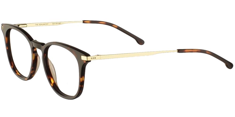 Τετράγωνα κοκάλινα ανδρικά και γυναικεία γυαλιά οράσεως Komono Beaumont Tortoise Gold σε καφέ ταρταρούγα με χρυσούς βραχίονεςγια όλα τα πρόσωπα.