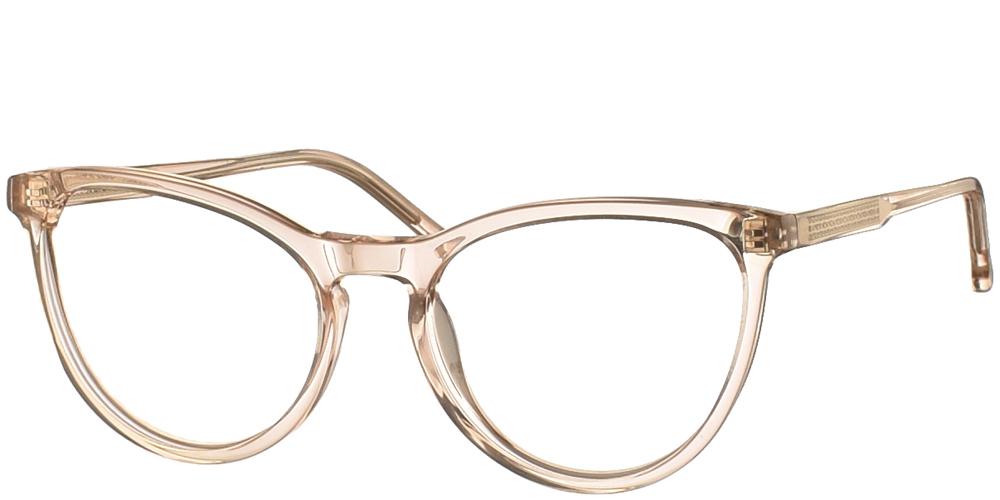 Γυναικεία κοκάλινα σε σχήμα πεταλούδα γυαλιά οράσεως Komono Cara Champagne σε ανοιχτόχρωμο απαλό ροζ σκελετόγια όλα τα πρόσωπα.