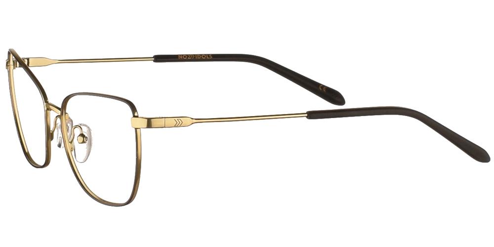Γυναικεία μεταλλικά γυαλιά οράσεως σε σχήμα πεταλούδας No Idols Gisele GISE02 με μαύρο και χρυσό σκελετό για μικρά και μεσαία πρόσωπα.