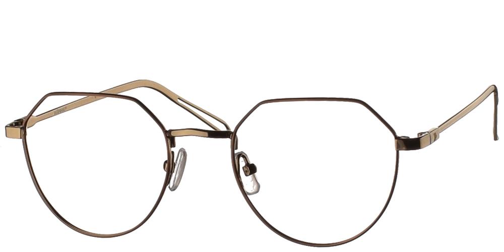 Μεταλλικά ανδρικά και γυναικεία γυαλιά οράσεως No Idols Hopkins TOPHOK003 με καφέ σκελετόγια μικρά και μεσαία πρόσωπα.