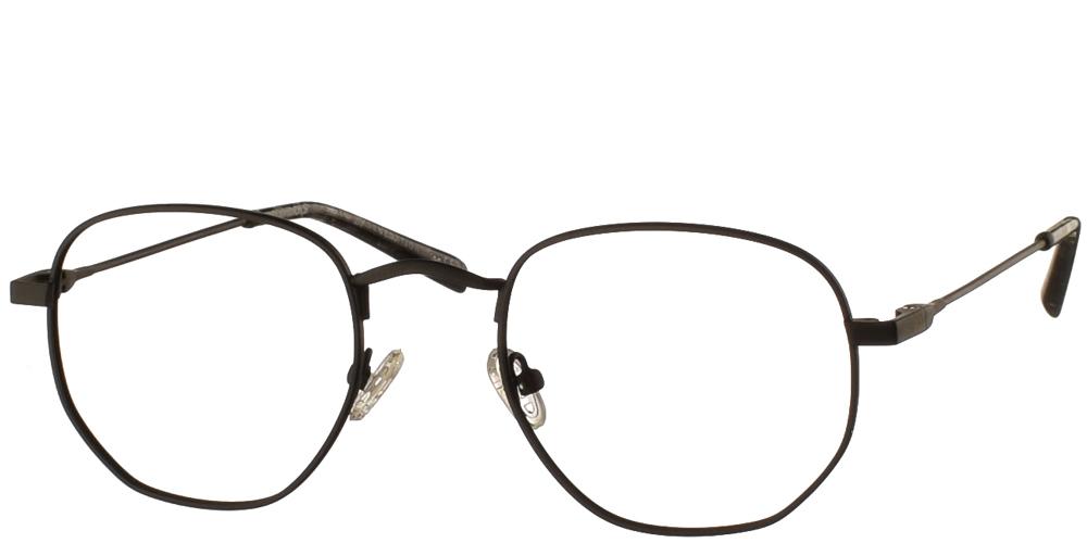 Μεταλλικά τετράγωνα ανδρικά και γυναικεία γυαλιά οράσεως No Idols Iggy IGG003 με μαύρο ματ σκελετό για όλα τα πρόσωπα.
