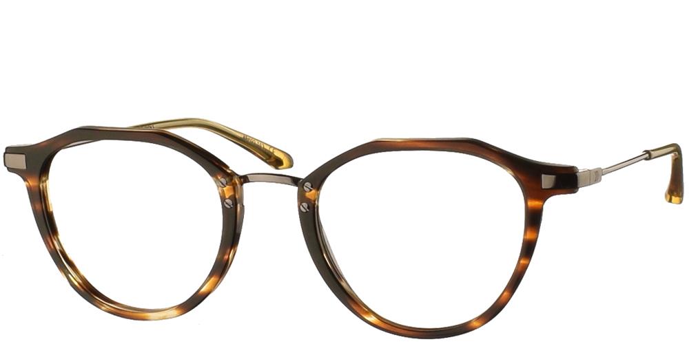 Κοκάλινα στρογγυλά ανδρικά και γυναικεία γυαλιά οράσεως No Idols Poirot TOPPOIR04 με καφέ ταρταρούγα και ασημί λεπτομέρειεςγια όλα τα πρόσωπα.
