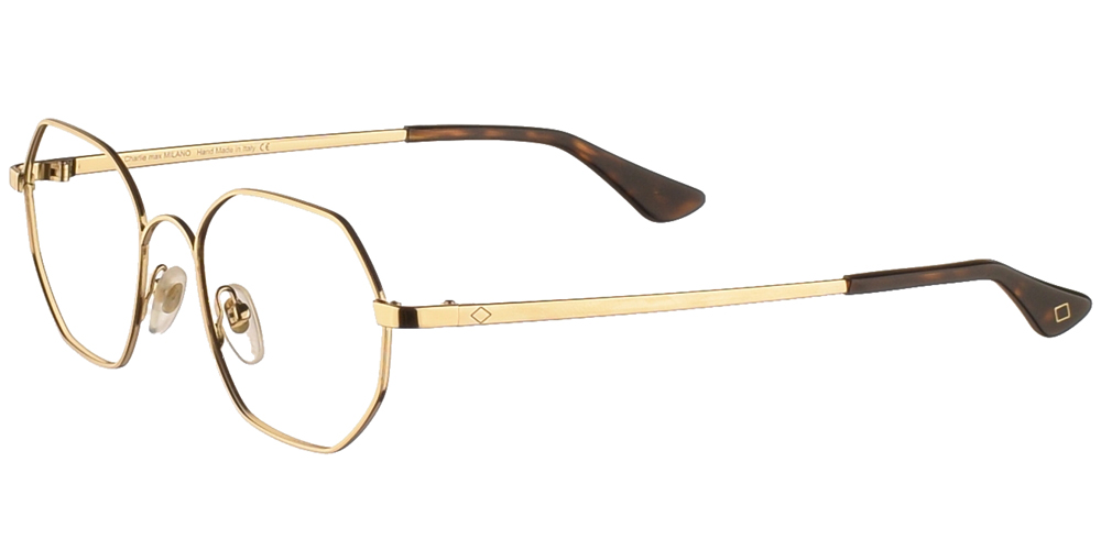 Πολυγωνικά μεταλλικά ανδρικά και γυναικεία γυαλιά οράσεως Charlie Max Bovisa GL σε χρυσό χρώμαγια όλα τα πρόσωπα.