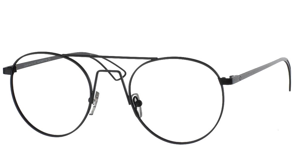 Στρογγυλά μεταλλικά ανδρικά και γυναικεία γυαλιά οράσεως Charlie Max Sempione BL-S13 σε μαύρο χρώμα για μικρά και μεσαία πρόσωπα.
