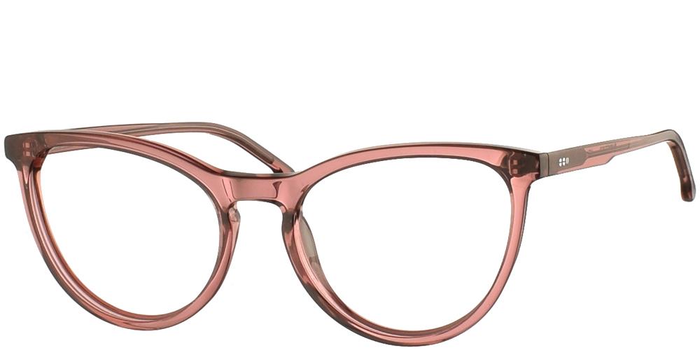 Γυναικεία κοκάλινα σε σχήμα πεταλούδα γυαλιά οράσεως Komono Cara Cranberry σε ροζ σκελετόγια όλα τα πρόσωπα.