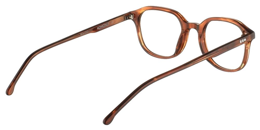 Κοκάλινα ανδρικά και γυναικεία γυαλιά οράσεως Komono Colin Bourbon σε καφέ σκελετόγια μικρά και μεσαία πρόσωπα.