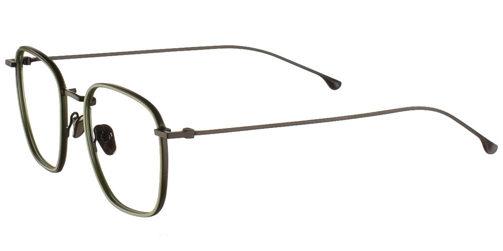 Τετράγωνα μεταλλικά ανδρικά και γυναικεία γυαλιά οράσεως Komono Oscar Black Green σε μαύρο και πράσινο σκελετόγια μεσαία και μεγάλα πρόσωπα.