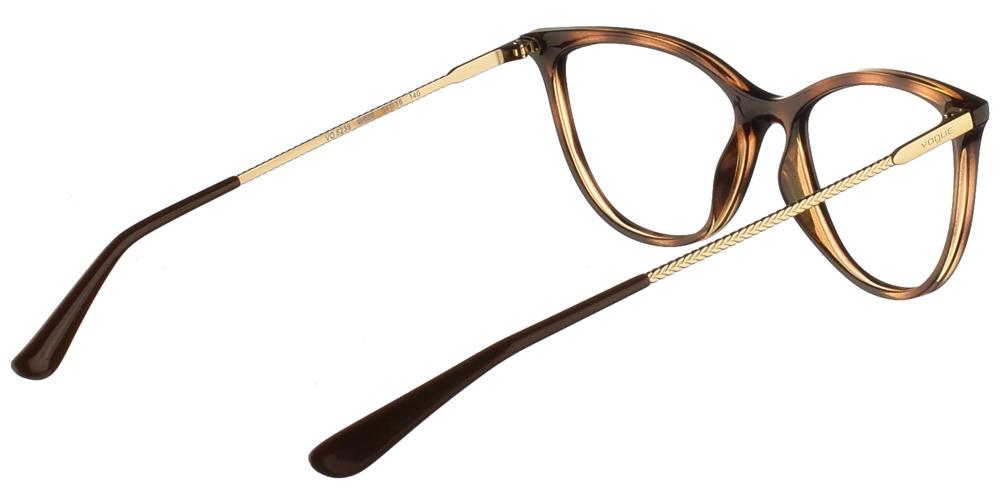 Γυναικεία κοκάλινα γυαλιά οράσεως πεταλούδα Vogue VO 5239 W656 σε καφέ ταρταρούγα με χρυσούς μεταλλικούς βραχίονεςγια μικρά και μεσαία πρόσωπα.