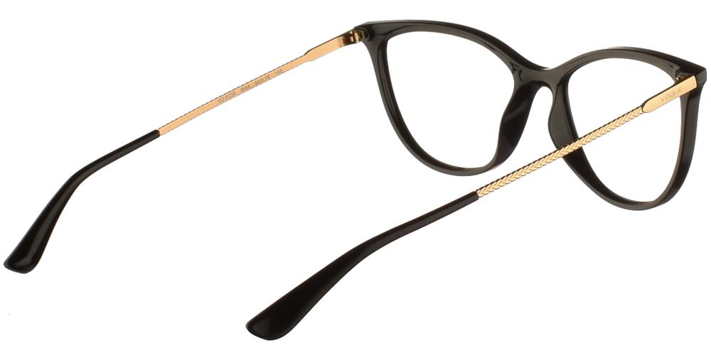 Γυναικεία κοκάλινα γυαλιά οράσεως πεταλούδα Vogue VO 5239 W44 σε μαύρο σκελετό με χρυσούς μεταλλικούς βραχίονες για μικρά και μεσαία πρόσωπα.