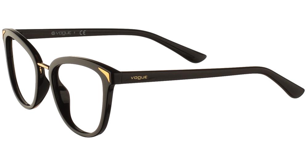 Γυναικεία κοκάλινα γυαλιά οράσεως πεταλούδα Vogue VO 5231 W44 σε μαύρο σκελετό με χρυσές μεταλλικές λεπτομέρειες για όλα τα πρόσωπα.