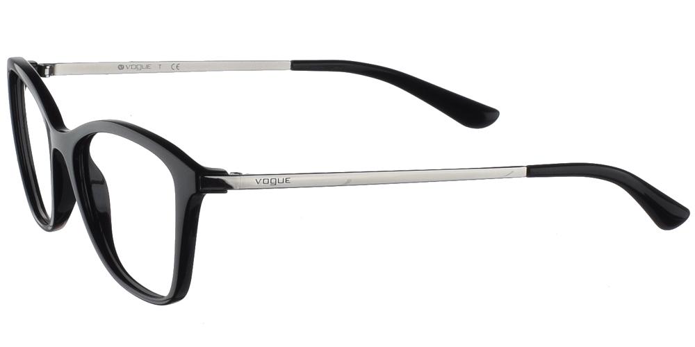 Γυναικεία κοκάλινα γυαλιά οράσεωςπεταλούδα Vogue VO 5152 W44 σε μαύρο σκελετό με ασημί μεταλλικούς βραχίονες για μεσαία και μεγάλα πρόσωπα.