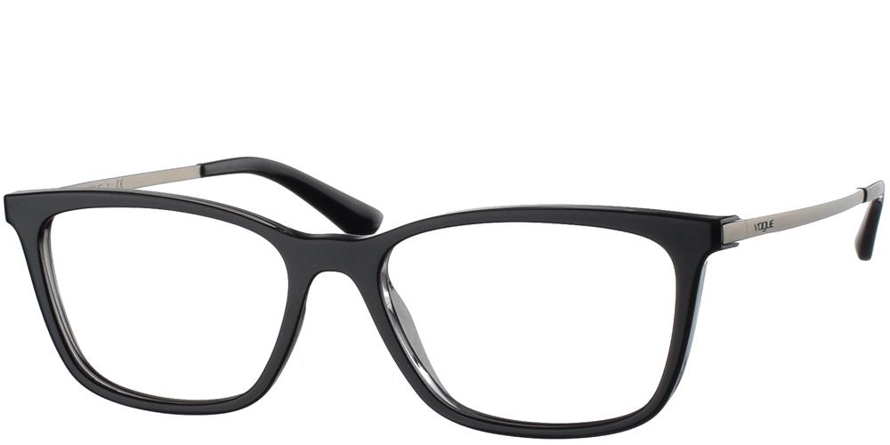 Γυναικεία κοκάλινα γυαλιά οράσεως σε σχήμα πεταλούδας Vogue VO 5224 2385 σε μαύρο σκελετό με ασημί ματ μεταλλικούς βραχίονες για μεσαία και μεγάλα πρόσωπα.