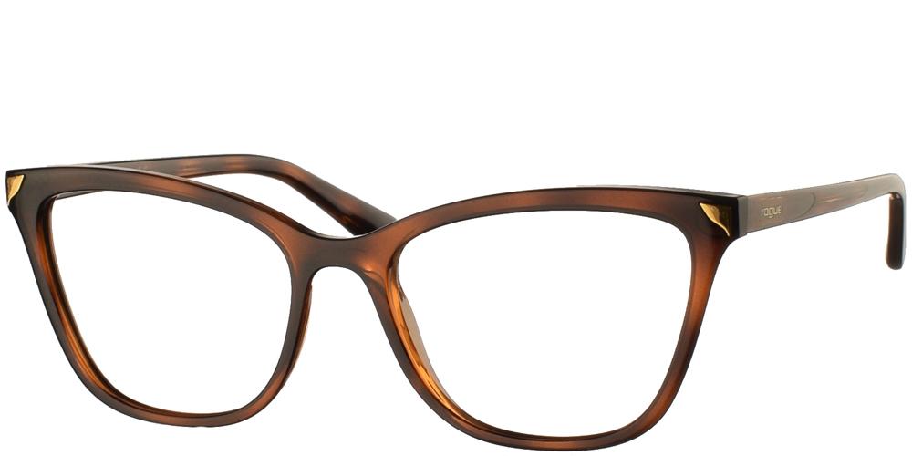 Γυναικεία κοκάλινα γυαλιά οράσεως πεταλούδα Vogue VO 5206 2386 σε καφέ ταρταρούγα με χρυσές λεπτομέρειεςγια όλα τα πρόσωπα.
