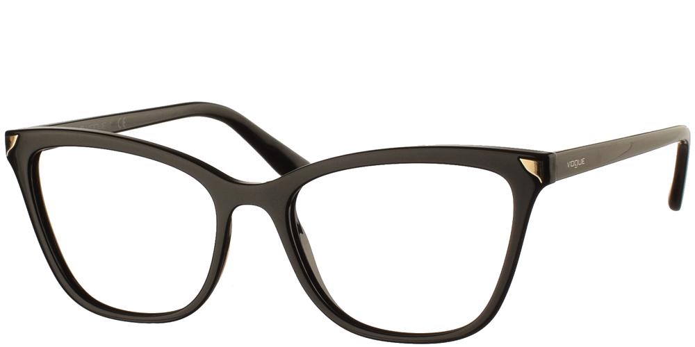 Γυναικεία κοκάλινα γυαλιά οράσεως πεταλούδα Vogue VO 5206 W44 σε μαύρο σκελετό με χρυσές λεπτομέρειεςγια όλα τα πρόσωπα.