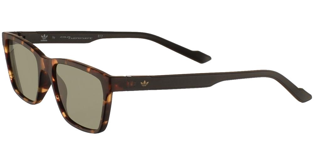 Ανδρικά και γυναικεία κοκάλινα τετράγωνα γυαλιά ηλίου Adidas Originals AOR027 092 σε καφέ ματ ταρταρούγα και επίπεδους πράσινους φακούςγια όλα τα πρόσωπα.