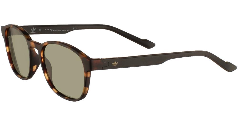Ανδρικά κοκάλινα τετράγωνα γυαλιά ηλίου Adidas Originals AOR030 092 σε καφέ ματ ταρταρούγα και επίπεδους πράσινους φακούςγια όλα τα πρόσωπα.