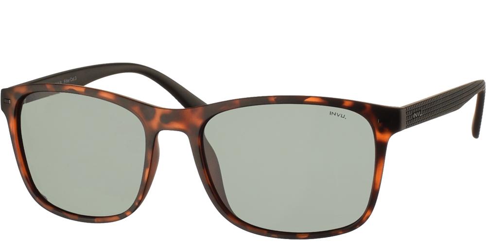 Διαχρονικά κοκάλινα ανδρικά γυαλιά ηλίου B2914 B σε καφέ ματ ταρταρούγα με πράσινους polarized φακούς της εταιρίας Invuγια μεσαία και μεγάλα πρόσωπα.