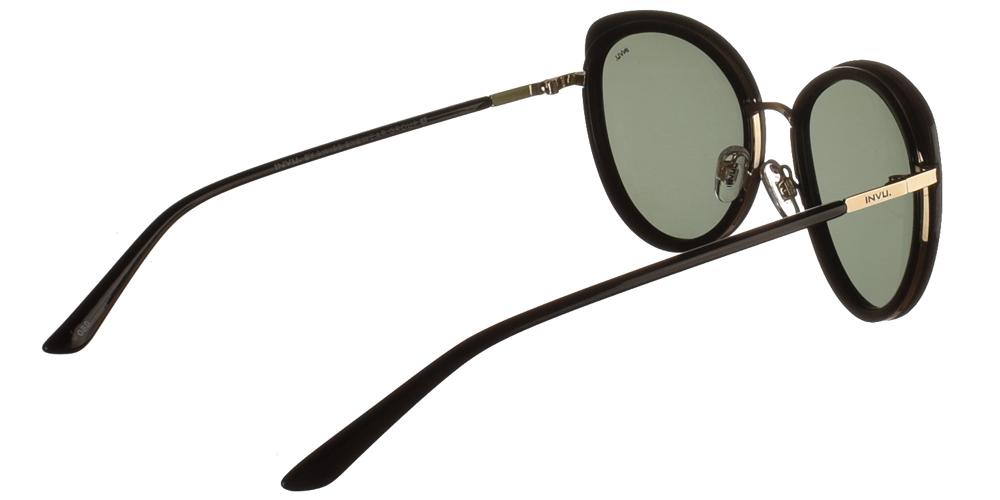 Διαχρονικά κοκάλινα γυναικεία γυαλιά ηλίου πεταλούδα B1027 A σε μαύρο σκελετό, με χρυσές λεπτομέρειες και με γκρι polarized φακούς της εταιρίας Invuγια μεσαία και μεγάλα πρόσωπα.
