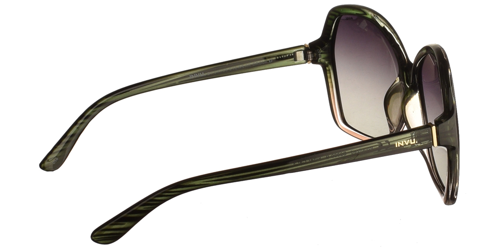 Διαχρονικά κοκάλινα γυναικεία γυαλιά ηλίου B2009 B σε πολύχρωμο σκελετό με γκρι ντεγκραντέ polarized φακούς της εταιρίας Invu για μεσαία και μεγάλα πρόσωπα.