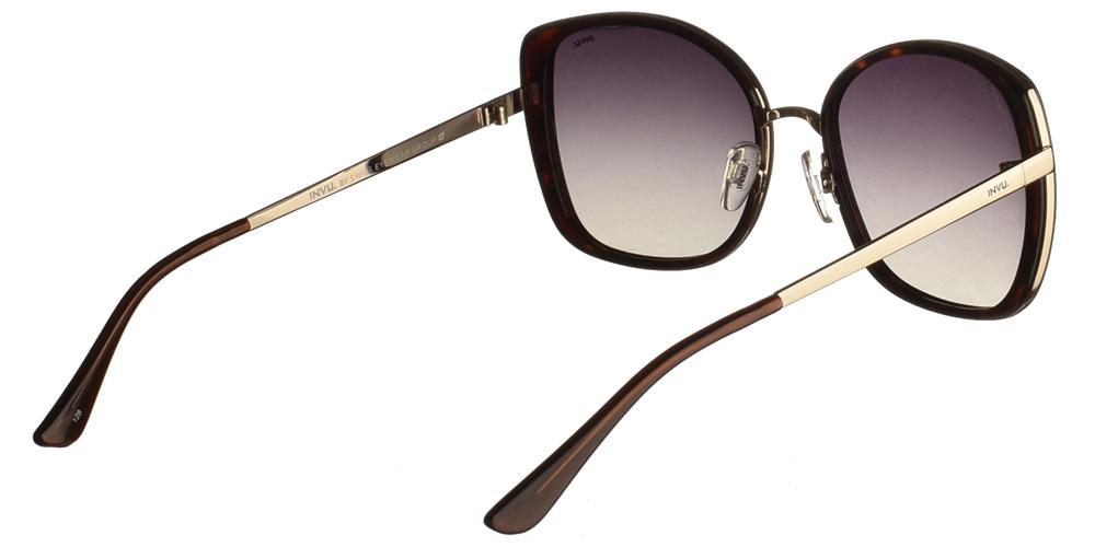 Διαχρονικά κοκάλινα γυναικεία γυαλιά ηλίου Invu B1907 B σε καφέ ταρταρούγα, με χρυσές λεπτομέρειες και με γκρι ντεγκραντέ polarized φακούς για μεσαία και μεγάλα πρόσωπα.