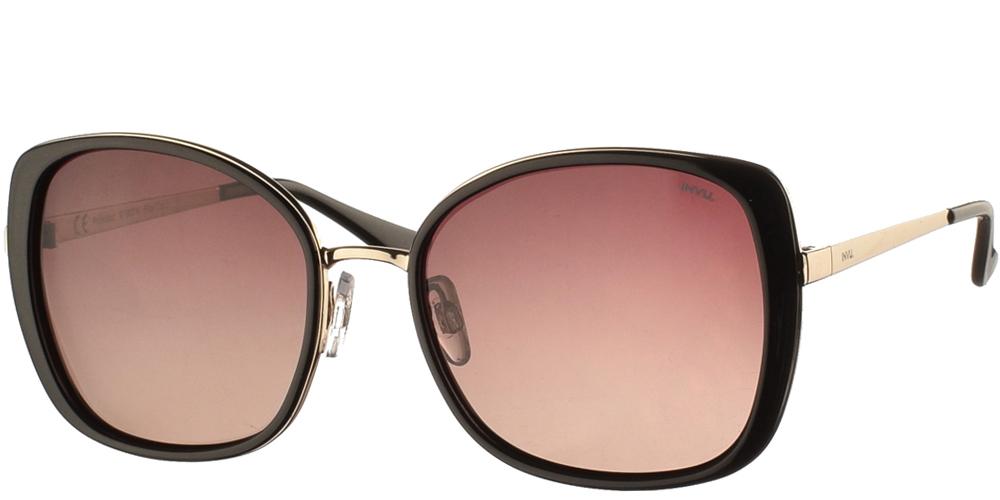 Διαχρονικά κοκάλινα γυναικεία γυαλιά ηλίου Invu B1907 A σε μαύρο χρώμα, με χρυσές λεπτομέρειες και με καφέ ντεγκραντέ polarized φακούς για μεσαία και μεγάλα πρόσωπα.