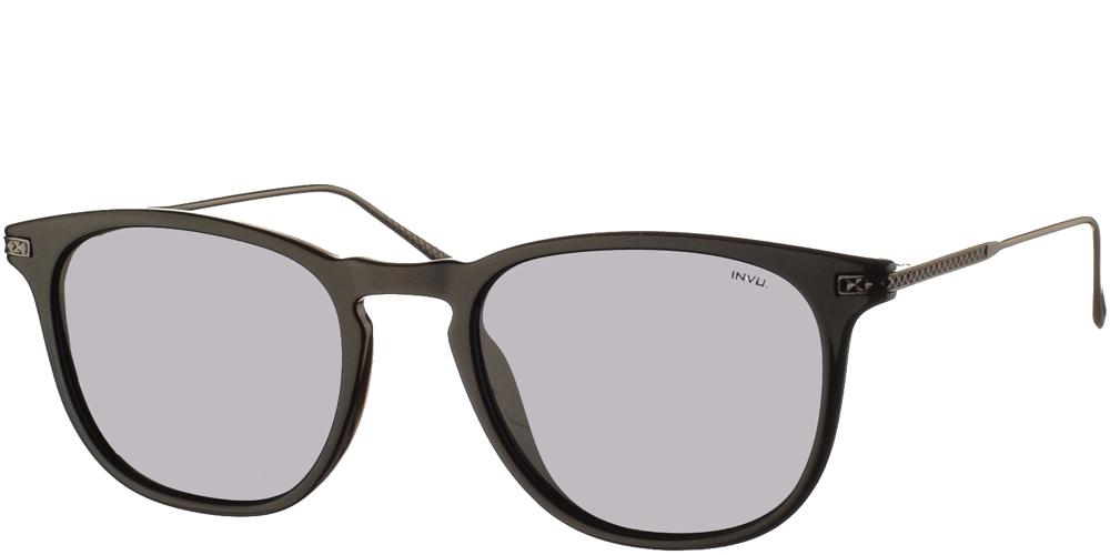 Διαχρονικά κοκάλινα ανδρικά γυαλιά ηλίου B2004 C σε μαύρο σκελετό με γκρι polarized φακούς της εταιρίας Invuγια όλα τα πρόσωπα.