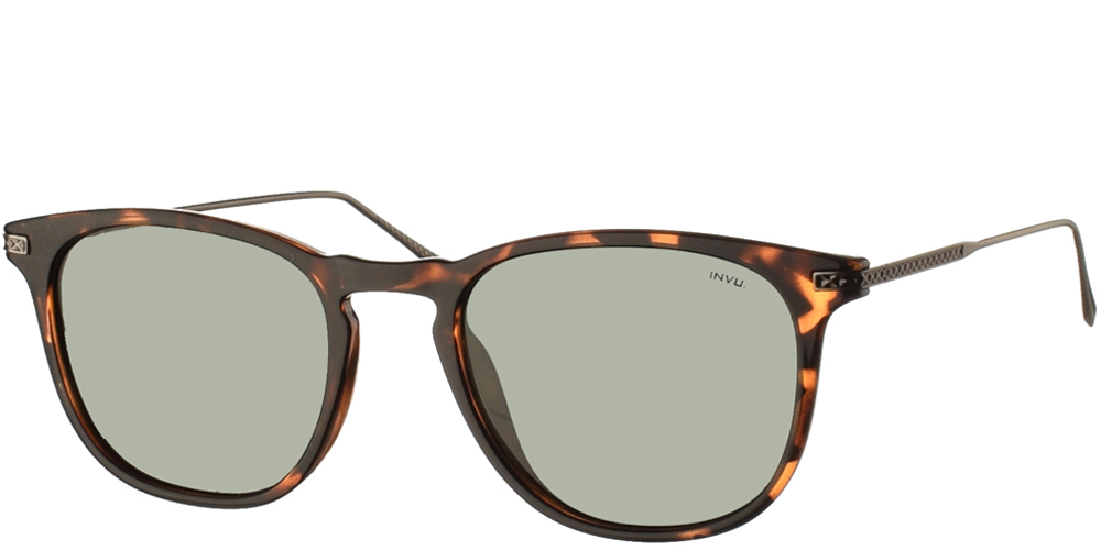 Διαχρονικά κοκάλινα ανδρικά γυαλιά ηλίου B2004 D σε καφέ ταρταρούγα με πράσινους polarized φακούς της εταιρίας Invuγια όλα τα πρόσωπα.