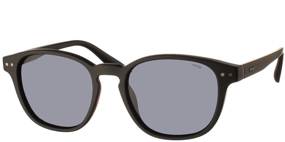 Διαχρονικά κοκάλινα ανδρικά γυαλιά ηλίου T2902 A σε μαύρο ματ σκελετό με γκρι polarized φακούς της εταιρίας Invuγια όλα τα πρόσωπα.