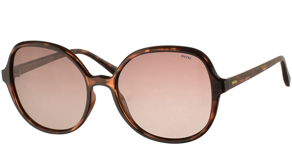 Διαχρονικά κοκάλινα γυναικεία γυαλιά ηλίου B2035 B σε καφέ ταρταρούγα με καφέ ντεγκραντέ polarized φακούς της εταιρίας Invu για μεσαία και μεγάλα πρόσωπα.