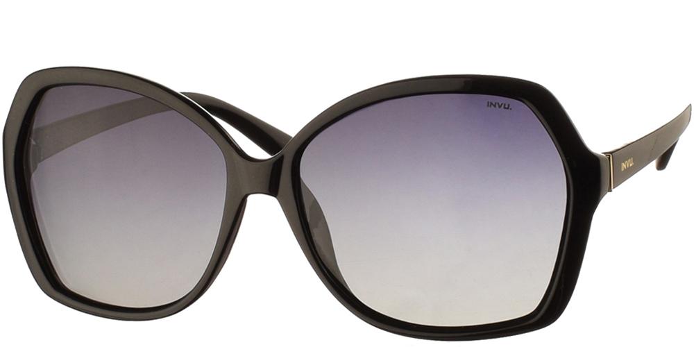 Διαχρονικά κοκάλινα γυναικεία γυαλιά ηλίου B2009 A σε μαύρο σκελετό με γκρι ντεγκραντέ polarized φακούς της εταιρίας Invu για μεσαία και μεγάλα πρόσωπα.