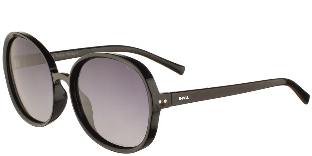 Διαχρονικά κοκάλινα γυναικεία γυαλιά ηλίου B2040 A σε μαύρο χρώμα με γκρι ντεγκραντέ polarized φακούς της εταιρίας Invu για μεσαία και μεγάλα πρόσωπα.