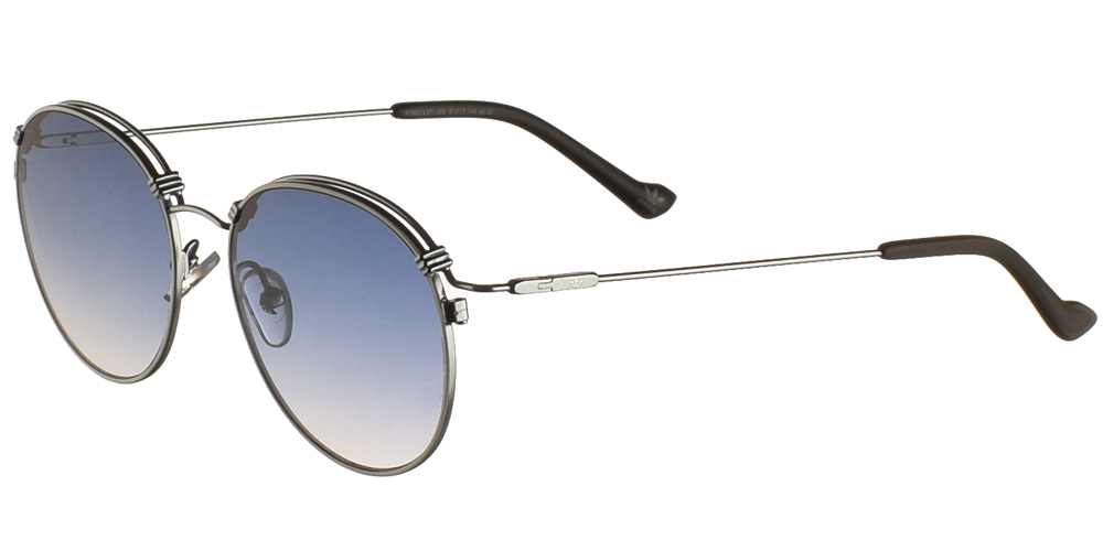 Ανδρικά και γυναικεία μεταλλικά στρογγυλά γυαλιά ηλίου Adidas Originals AOM013 071 σε λευκό και ασημί χρώμα και επίπεδους μπλε ντεγκραντέ φακούς.