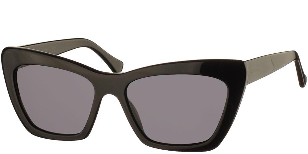 Γυναικεία κοκάλινα γυαλιά ηλίου Julia Black σε μαύρο χρώμα και σκουρόχρωμους γκρι φακούς της εταιρίας Glass of Brixtonγια όλα τα πρόσωπα.