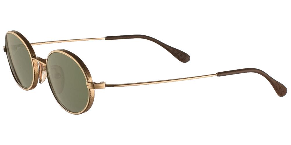 Μεταλλικά ανδρικά και γυναικεία γυαλιά ηλίου Original Vintage 3798 Gold σε χρυσό σκελετό και σκούρους πράσινους φακούςγια όλα τα πρόσωπα.