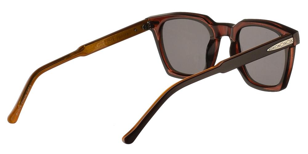 Τετράγωνα ανδρικά και γυναικεία γυαλιά ηλίου Spitfire Block Chain Brown σε σκούρο καφέ χρώμα με πορτοκαλί λεπτομέρειες και σκουρόχρωμους γκρι φακούς.