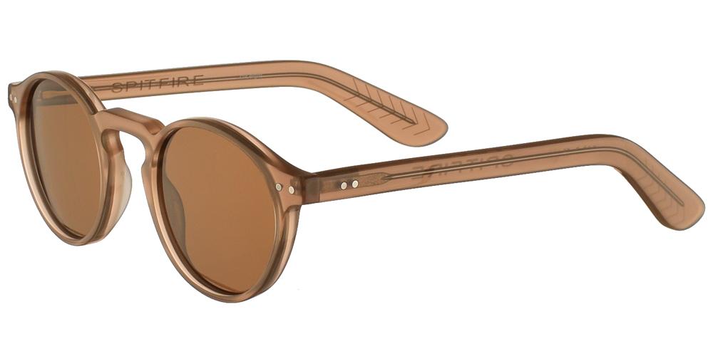 Ανδρικά και γυναικεία κοκάλινα στρογγυλά γυαλιά ηλίου Spitfire Cut Eight Nude σε σκουρόχρωμο φυσικό μπεζ χρώμα και καφέ φακούςγια μικρά και μεσαία πρόσωπα.