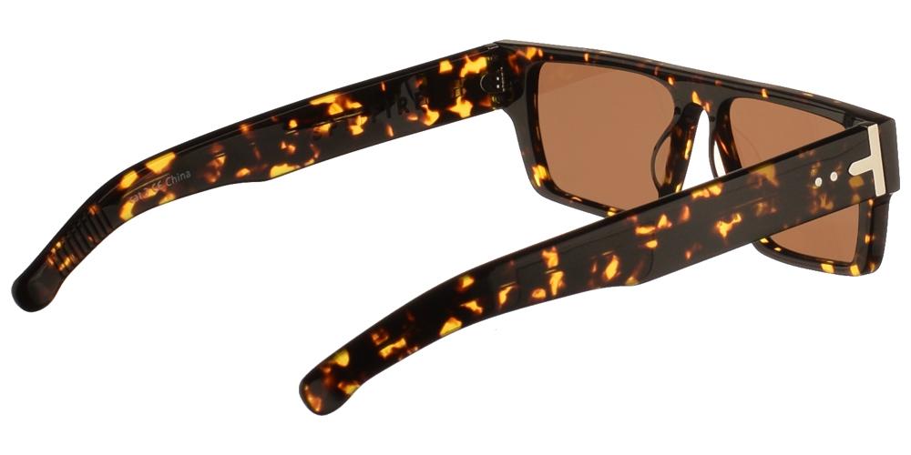 Ανδρικά και γυναικεία κοκάλινα γυαλιά ηλίου Spitfire Cut Six Tortoise σε σκουρόχρωμη καφέ ταρταρούγα και επίπεδους καφέ φακούς.
