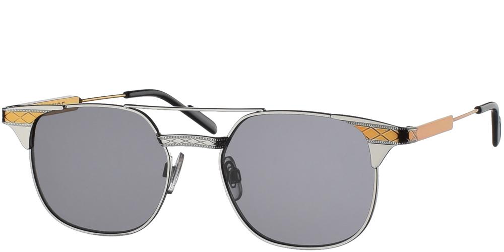 Μεταλλικά τετράγωνα ανδρικά και γυναικεία γυαλιά ηλίου Spitfire Grit Silver Gold με διπλή ασημί μεταλλική γέφυρα και επίπεδο σκούρο γκρι φακό.