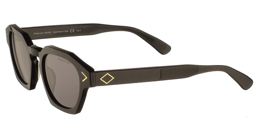 Χειροποίητα κοκάλινα ανδρικά και γυναικεία γυαλιά ηλίου Charlie Max Lambro N1N43 σε μαύρο σκελετό και γκρι φακούςγια όλα τα πρόσωπα.