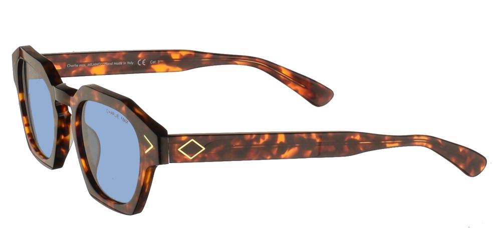Χειροποίητα κοκάλινα ανδρικά και γυναικεία γυαλιά ηλίου Charlie Max Lambro H5B43 σε καφέ ταρταρούγα και μπλε φακούςγια όλα τα πρόσωπα.