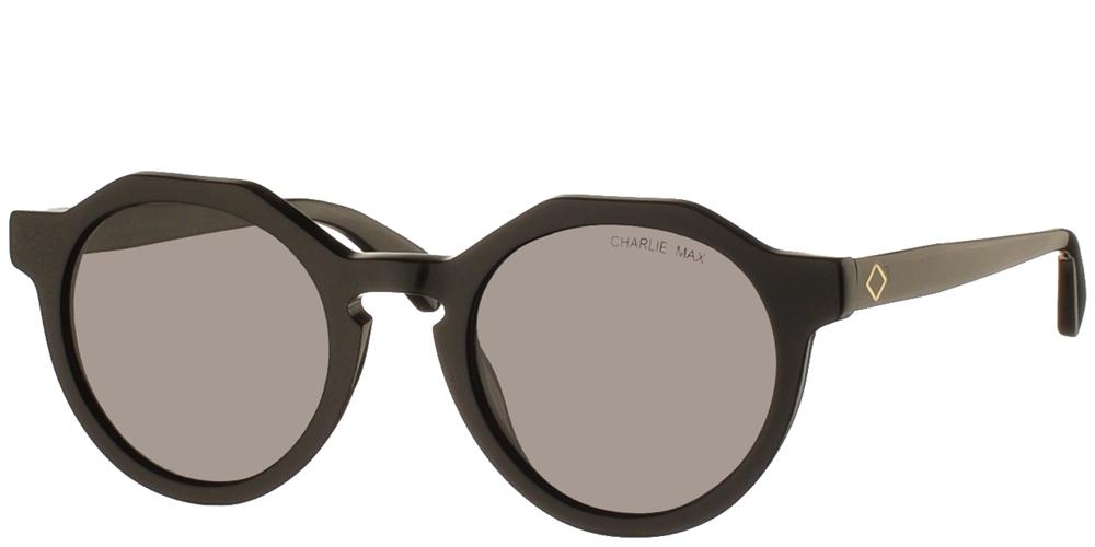 Χειροποίητα κοκάλινα γυναικεία και ανδρικά γυαλιά ηλίου Charlie Max Sauro N1N43 σε μαύρο σκελετό και γκρι φακούς για όλα τα πρόσωπα.
