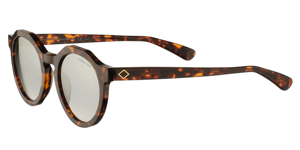 Χειροποίητα κοκάλινα αδρικά και γυναικειά στρογγυλά γυαλιά ηλίου Charlie Max Sauro H5N33 σε καφέ ταρταρούγα και απαλούς ασημί καθρέφτες για όλα τα πρόσωπα.
