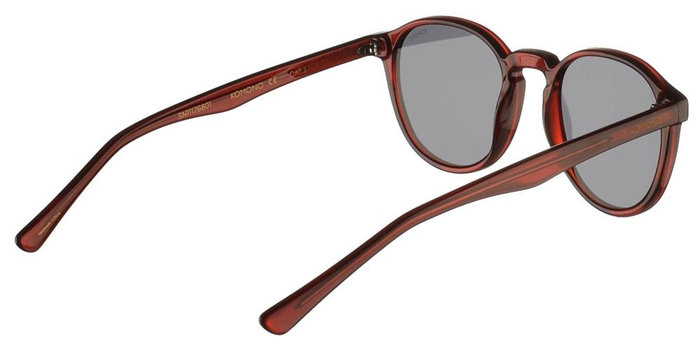 Κοκάλινα ανδρικά και γυναικεία γυαλιά ηλίου Komono Liam Burgundy σε μπορντώ σκελετό και επίπεδους γκρι φακούςγια όλα τα πρόσωπα.