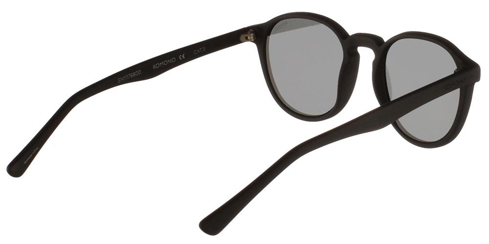 Κοκάλινα ανδρικά και γυναικεία γυαλιά ηλίου Komono Liam Carbon σε μαύρο ματ σκελετό και επίπεδους γκρι φακούςγια όλα τα πρόσωπα.